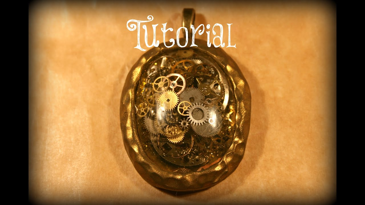 Steampunk resin pendant with real clock parts velvetorium youtube mozeypictures Gallery