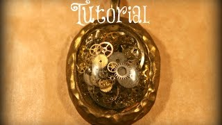 Steampunk Resin Pendant With Real Clock Parts | Velvetorium