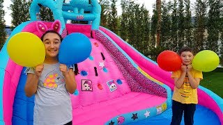 Kids pretend play magic lol inflatable water slide - Funny kid video