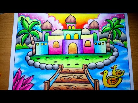 Cara Menggambar Pemandangan Pulau Dan Masjid Yang Mudah Drawing Scenery Of Mosque Youtube