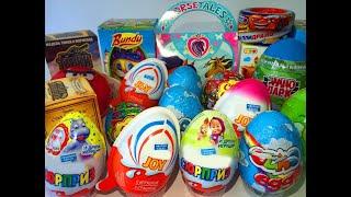 20 Киндер Сюрпризов,Unboxing Kinder Surprise Eggs Ozmo egg,Тачки,Пони,Angry Birds, Disney Cars
