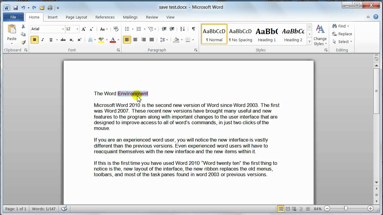 Microsoft word 2010 basic editing tutorial 8 youtube for Change the normal template in word 2010
