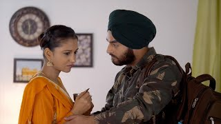 Loving and emotional wife hugging army husband before leaving - Indian soldier going for duty
