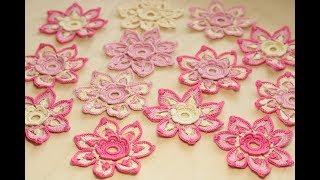 Цветок крючком вязание ирландское кружево  tutorial Crochet  Flower irish lace