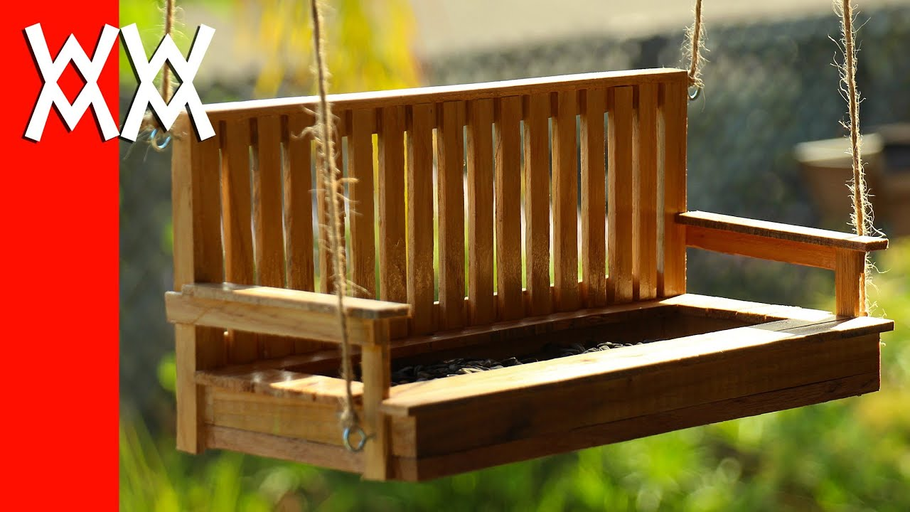 Make a porch swing bird feeder. Pallet wood! - YouTube