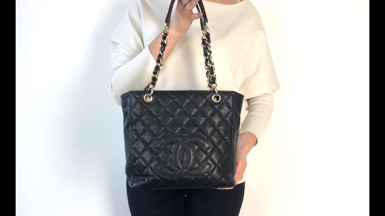 b73c15524 Chanel PST Tote Bag with Black Caviar Leather and Gold Hardware |  Handbagholic.co.uk