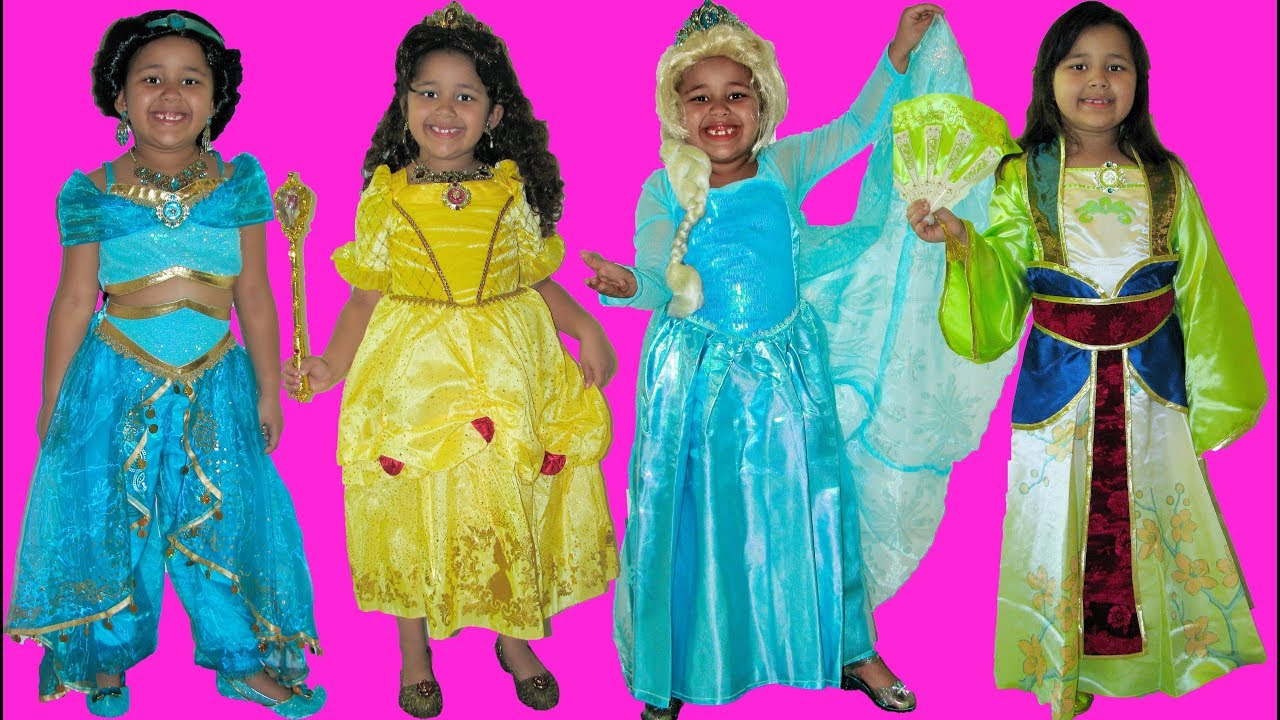 6 Halloween Costumes Disney Princess Belle Jasmine Queen Elsa Anna And Mulan Youtube