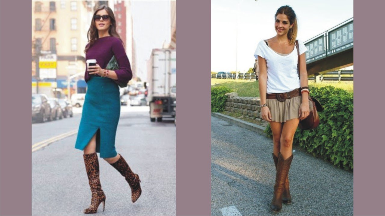 Elegant Long Boots And Skirts