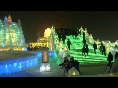 Full size bridge, castle and church sculptures shown off at Chinese ice festival