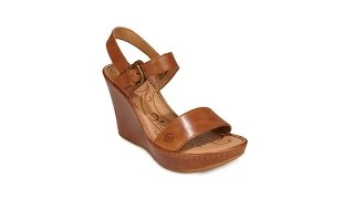 "Born ""Lenore"" Leather Platform Wedge Sandal"