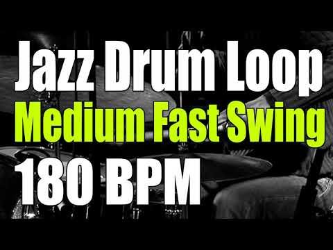 Jazz drum loop medium fast swing (Brushes and sticks) - 180 BPM