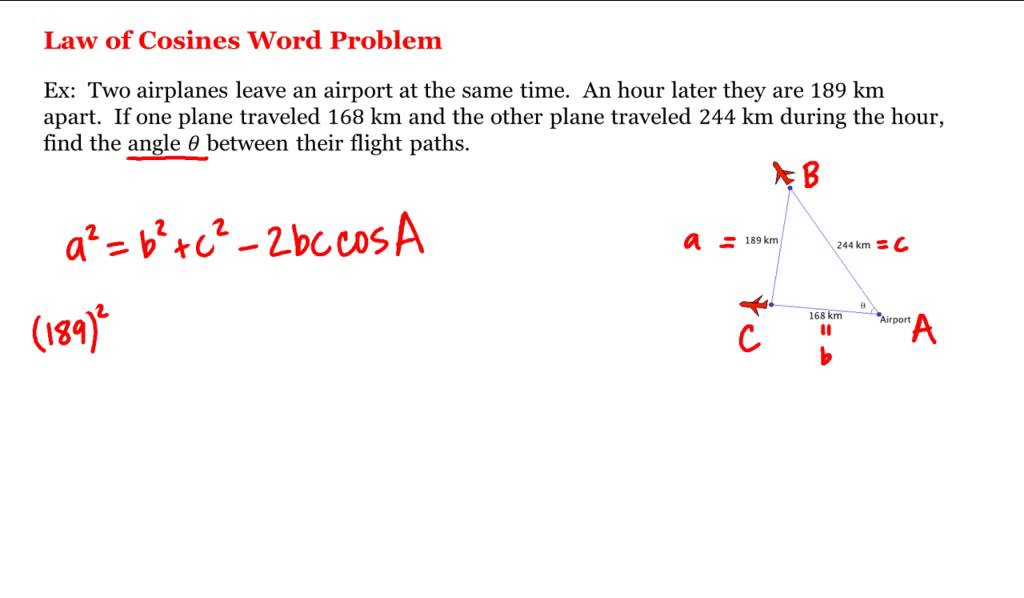 law of cosines application problems