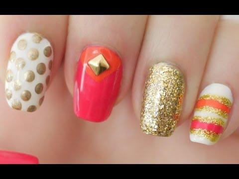 Pink & Orange Kate Spade Inspired Nails