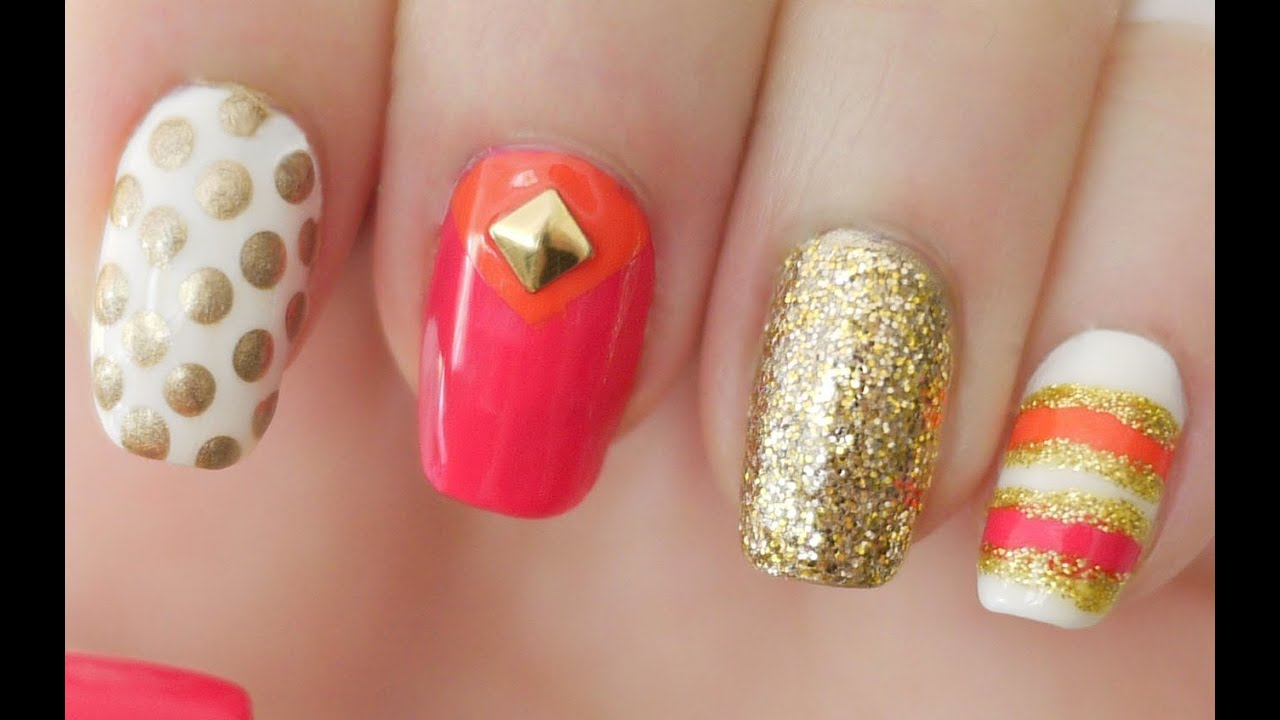 Pink orange kate spade inspired nails youtube prinsesfo Image collections