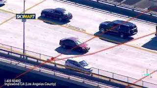 L.A Police Chase suspect who hit pedestrian & Evaded 4 Pit Attempts.