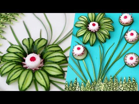 Super Vegetable Cucumber Flower Decoration Ideas - Cucumber Carving Radish Eye Garnish