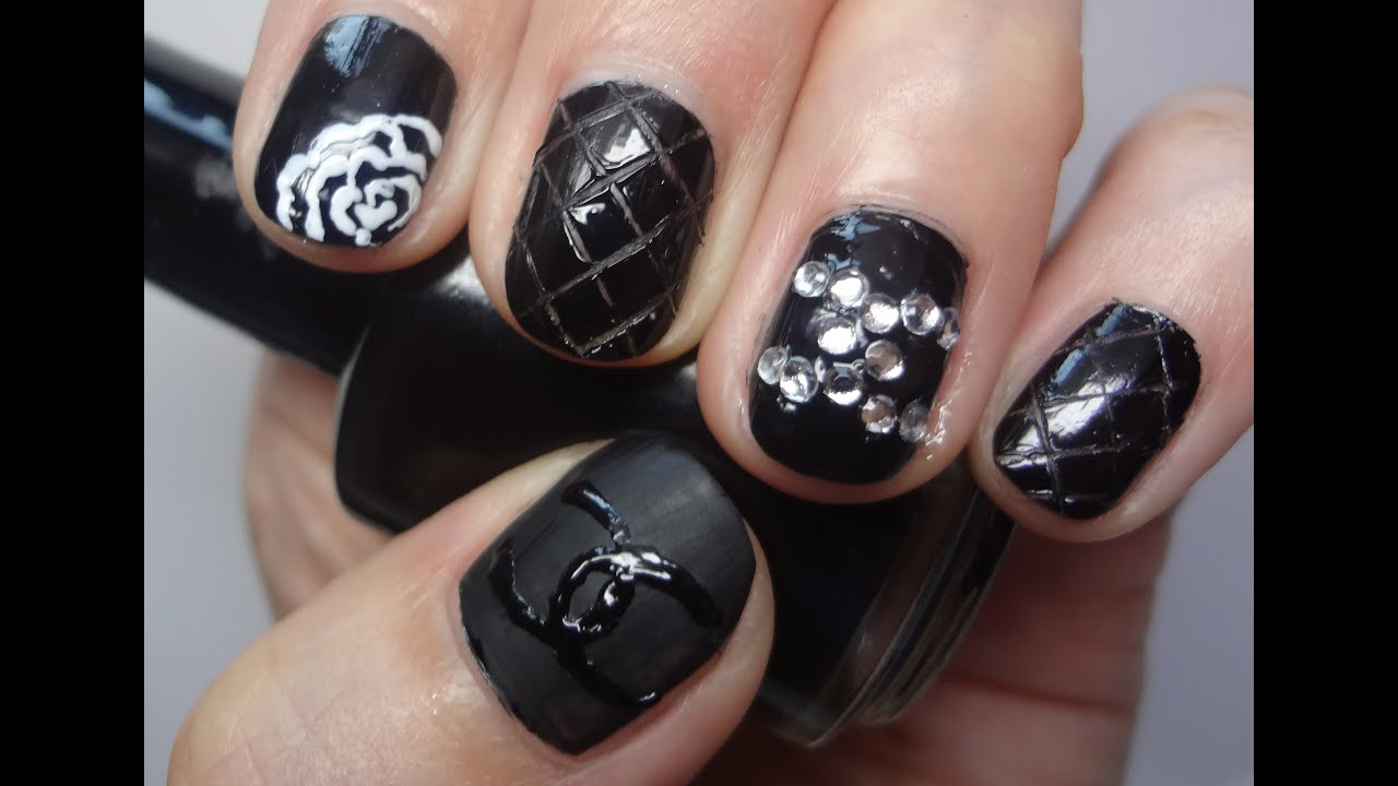 Chanel Inspired Quilted Nail Art Design for Short Nails