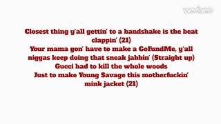 21 Savage Ft. Gunna & Lil Baby - Can't leave without it (lyrics)