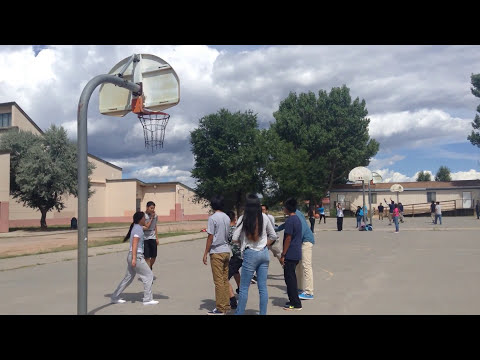 Playing basketball at window rock high school during lunch