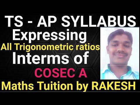 Express All Trigonometric Ratios Interms Of CosecA