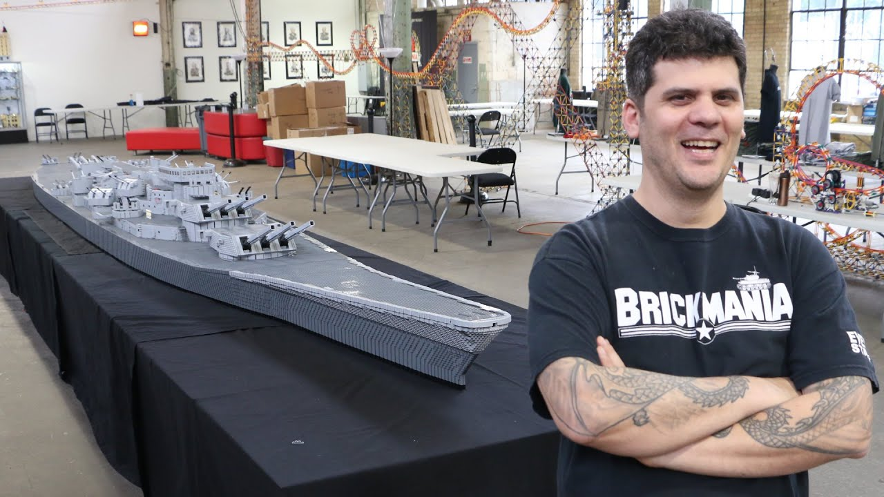 Massive LEGO USS Missouri WWII Battleship By Brickmania YouTube - Biggest lego ship