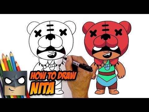 How To Draw Brawl Stars Nita Step By Step Tutorial Youtube