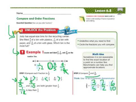 Go Math 68 Compare And Order Fractions Youtube