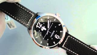 Men's Lacoste Montreal Black Leather Strap Watch 2010695