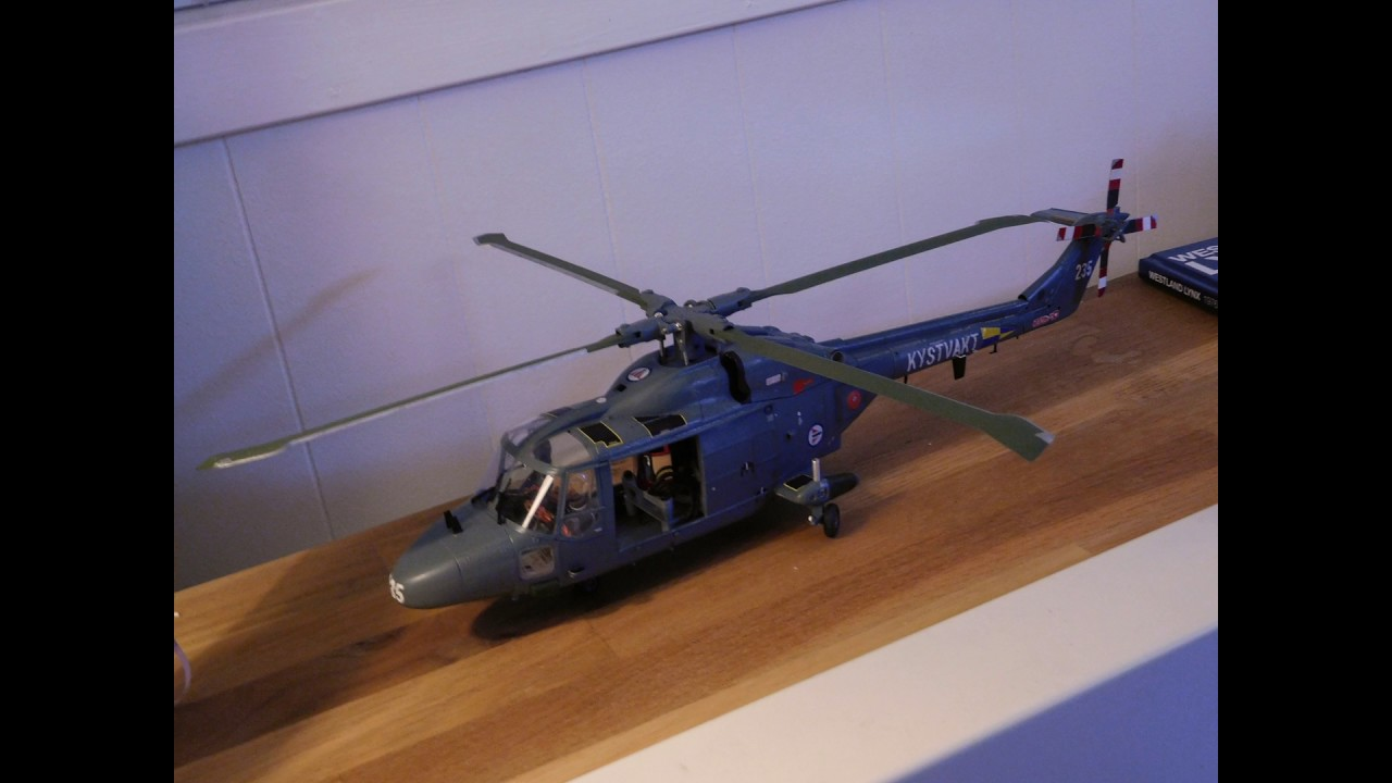 Static test of Revell 1:32 Westland Lynx helicopter kit to RC conversion