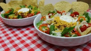 Chili Taco Salad~Taco Salad Recipe~Budget Friendly Recipes~Bulk Cooking~Mexican Food~Noreen's K