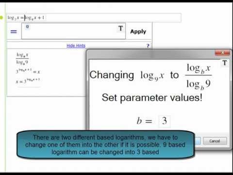 A logarithm problem in Gebra math software