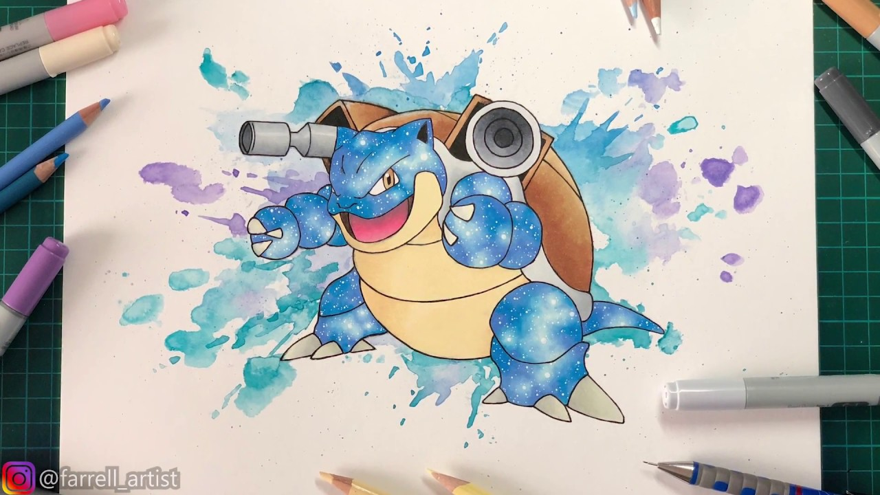 drawing pokemon blastoise watercolor splash background prismacolor galaxy youtube drawing pokemon blastoise watercolor splash background prismacolor galaxy