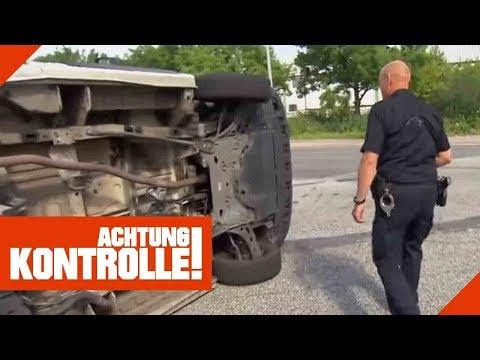 Transporter umgekippt! Polizei ermittelt Schuldfrage!   Achtung Kontrolle   Kabel Eins