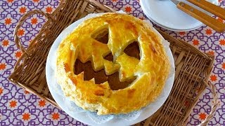 How To Make Halloween Jack-o'-lantern Pumpkin Pie (recipe) ハロウィン ジャックランタン パンプキンパイの作り方 (レシピ)
