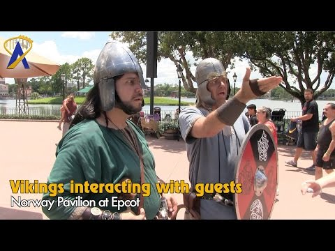 Vikings wandering around the Norway Pavilion at Epcot