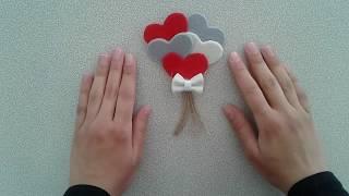 Keçeden Kalpli Magnet Yapımı / DIY  Heart Magnet Construction