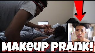 MAKEUP PRANK ON SLEEPING BROTHER!! (VERY FUNNY)