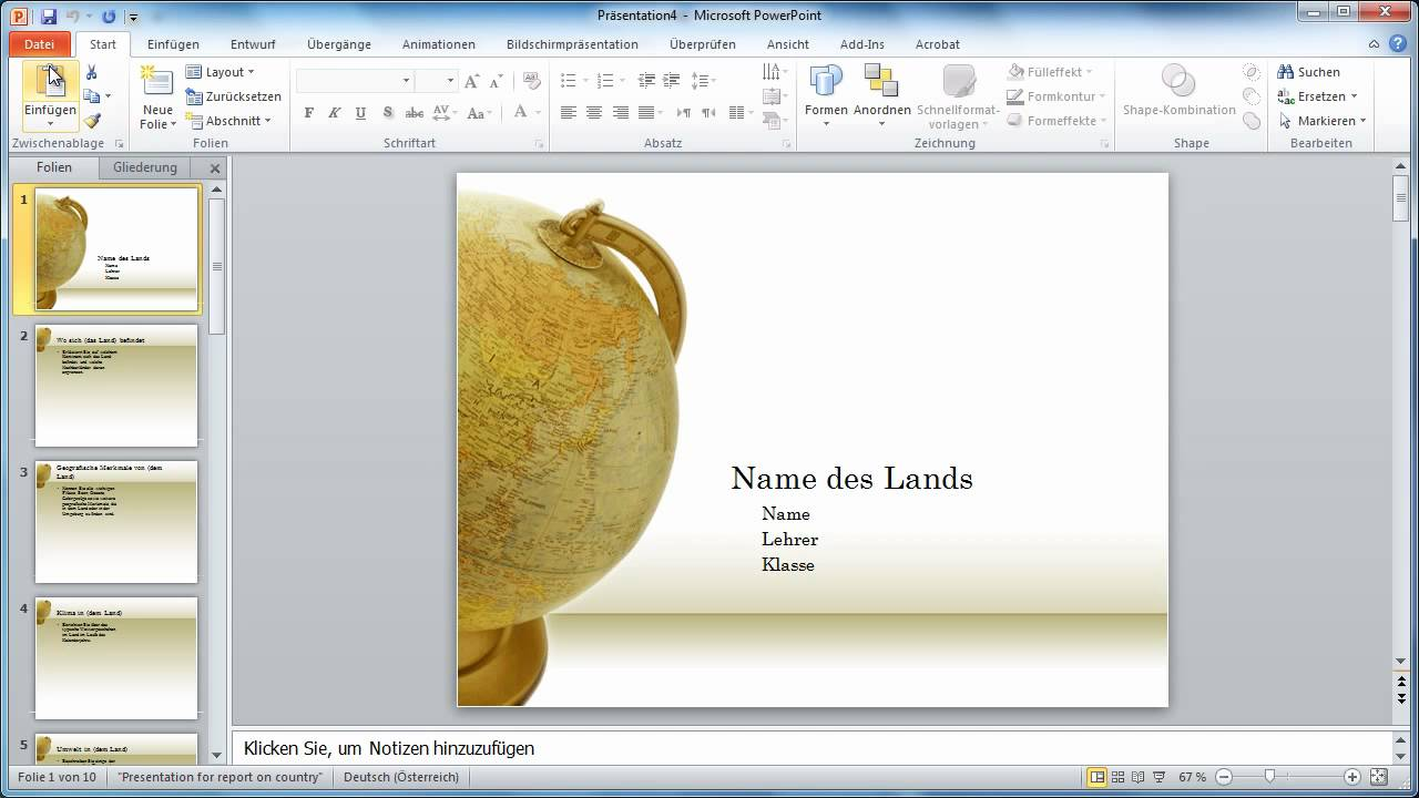 Powerpoint 2010 - Handzettel einer Präsentation in Word ...