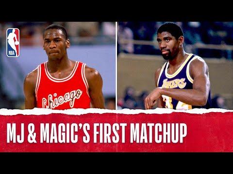 Michael Jordan vs Magic Johnson | 1st Matchup Ever Rookie Jordan | 12.2.1984