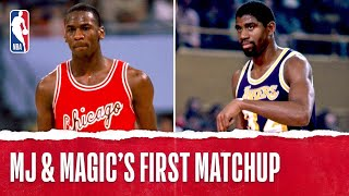 Michael Jordan vs Magic Johnson | 1st Matchup Ever Rookie Jordan | 12.2.1984