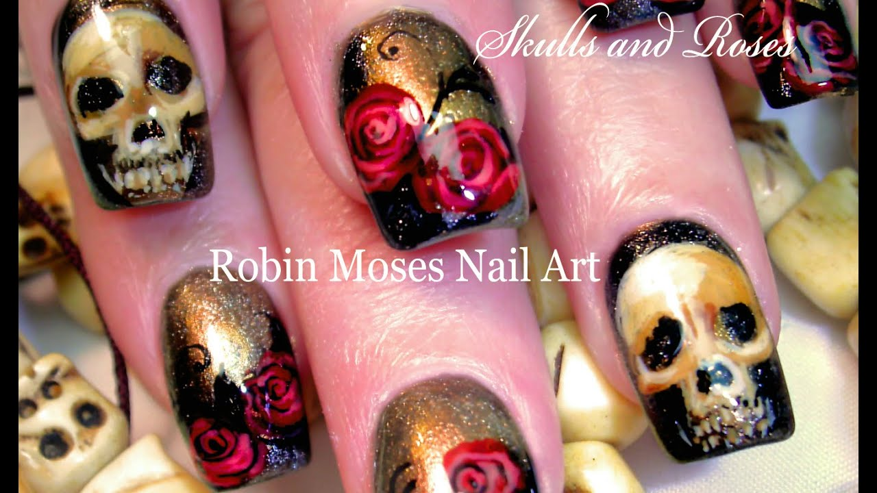 Diy Bone Skulls And Red Roses Roses Nail Art Design Tutorial Youtube