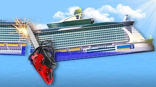 CUTTING A SHIP IN HALF! - Floating Sandbox Gameplay - Sinking Ship Game