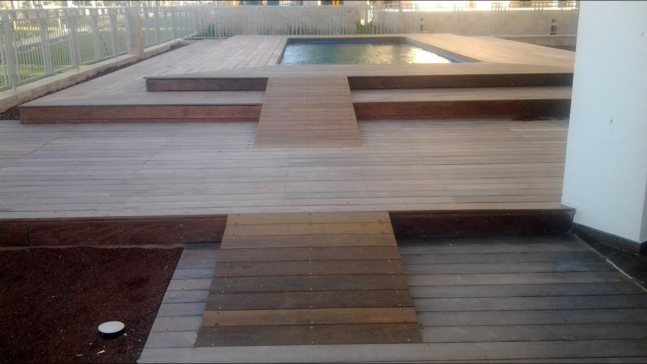 Decking Installation Around Swimming Pool Youtube