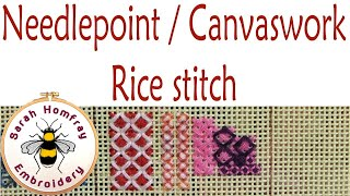 Rice stitch in needlepoint / canvaswork embroidery