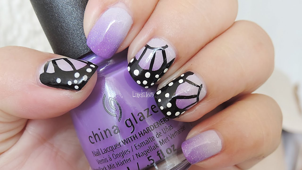 Nail Art - Butterfly Wings for World Lupus Day - Diseño de Uñas ...
