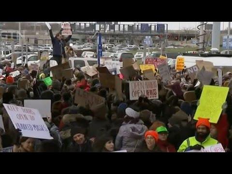 Activists protest Trump's refugee ban at JFK airport