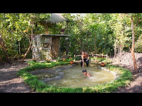Building Cool swimming pool features and house bamboo 100%( Full) | Building Skill
