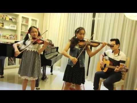 ค้างคาวกินกล้วย - Note & Pin Sisters + Dad - 2 Violins & Guitar