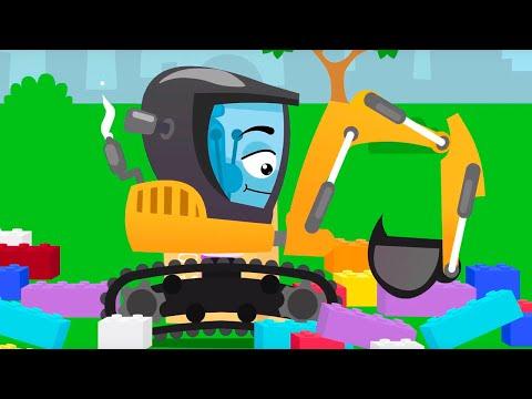 Экскаватор и Бульдозер играют с конструктором - Истории Машинок - Мультфильмы для детей