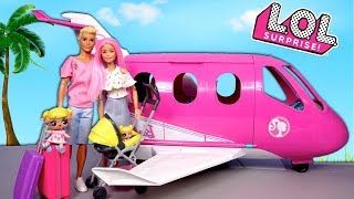 Barbie LOL Goldie Family Travel Morning Routine in Pink Airplane - Titi Dolls